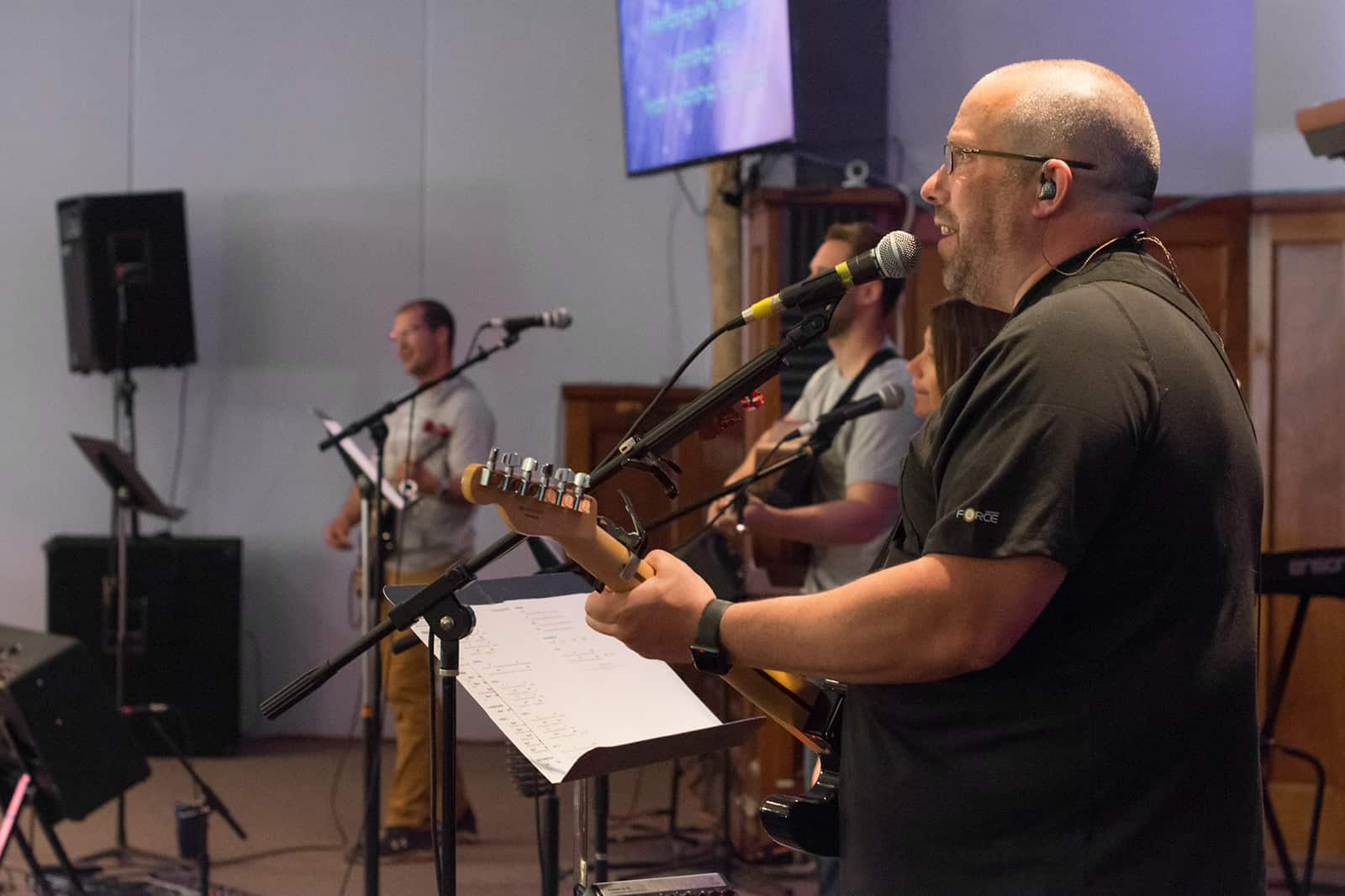 Band playing during Sunday service
