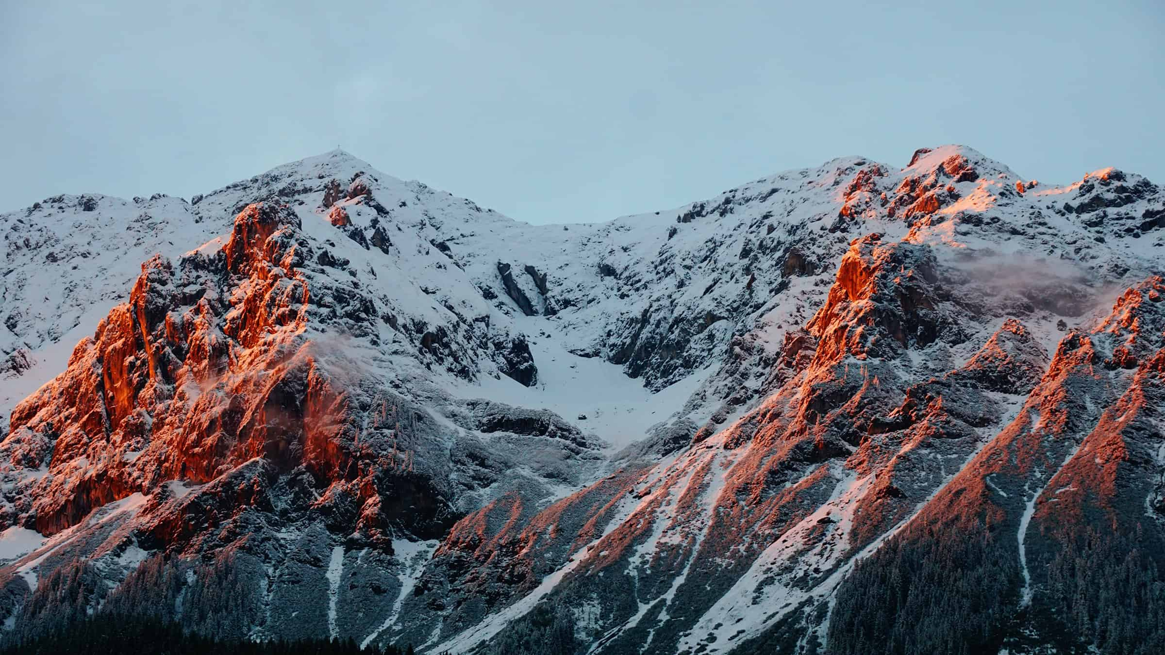 Scenic image of a mountain at dusk
